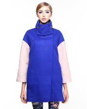Jackets & Coats - Colorblock Wool Coat w/ Elbow Detail