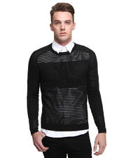 Sweaters - Crewneck Open Lattice Sweater