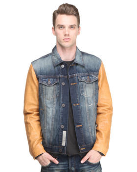 Cult Of Individuality - Heritage Denim Jacket w/ Leather Sleeve