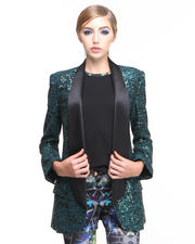 Greedilous - Emerald Beaded Tuxedo Jacket