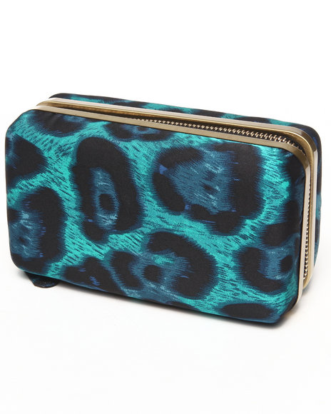 Fashion Lab Women Leopard Printed Zip Box Clutch Blue - $16.99