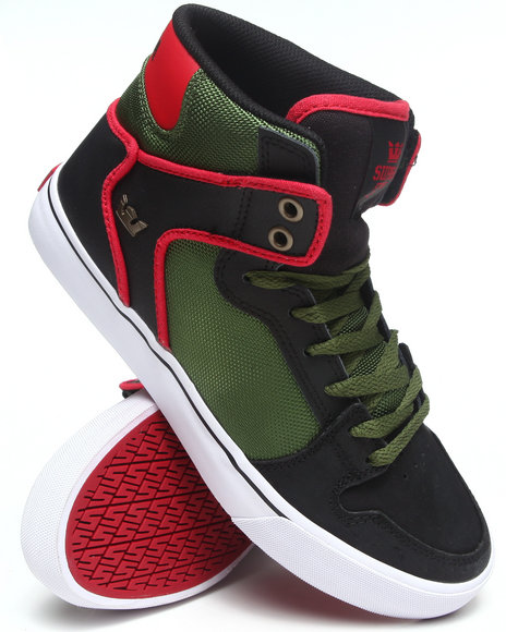 Supra Black,Green Vaider Black Crackled Leather/Green Ballistic Nylon Sneakers