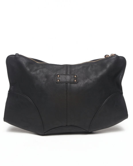 Fashion Lab Women Vegan Leather Oversized Clutch Black - $28.99