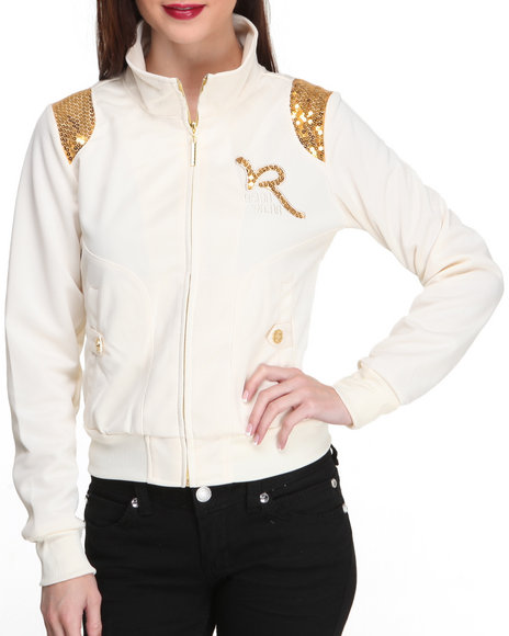 Rocawear Cream Roc Light Weight Track Jacket W/Sequin Detail