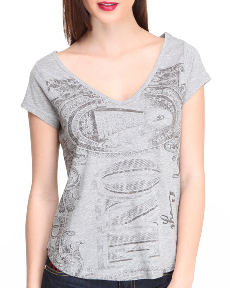 Coogi - Women Grey Money Print V-Neck Top
