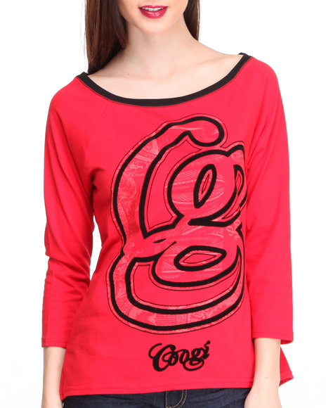 Coogi - Women Red Hi-Lo 3/4 Sleeve Pullover W/ Logo - $10.99