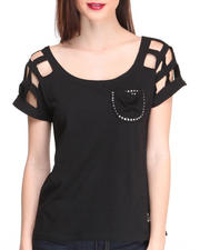 Women - Cold Shoulder Top w/ Studs Pindown Pocket