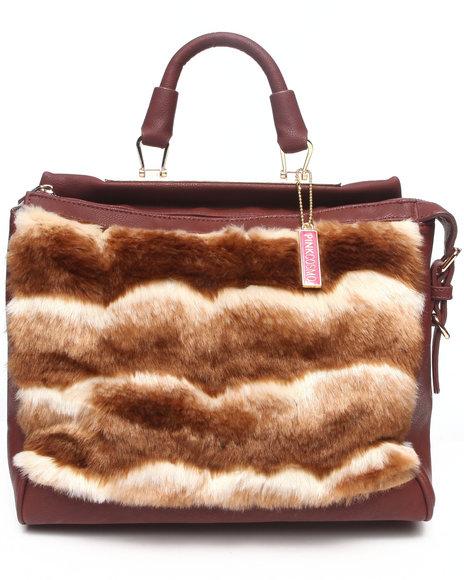 Fashion Lab Kim Faux Fur Satchel Handbag Brown