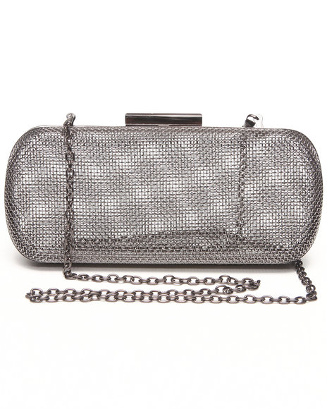 Fashion Lab Women Mesh Metal Case Clutch Grey - $13.99