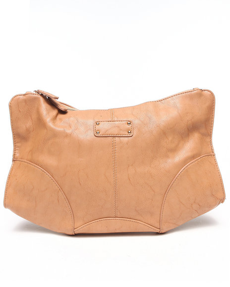 Fashion Lab Women Vegan Leather Oversized Clutch Tan - $21.99