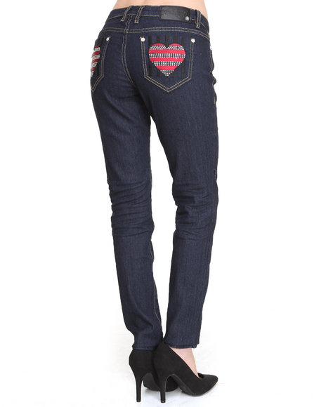 Coogi - Women Dark Blue Heart Back Jem Pocket Jeans
