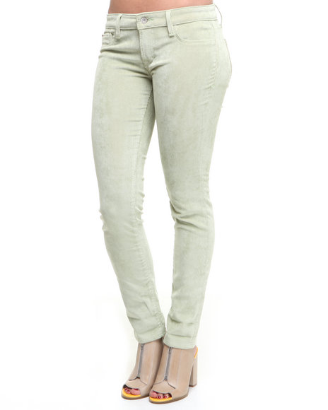 DJP OUTLET - Women Lime Green Cult Of Individuality Soft Corduroy Teaser Skinny Crop Pants