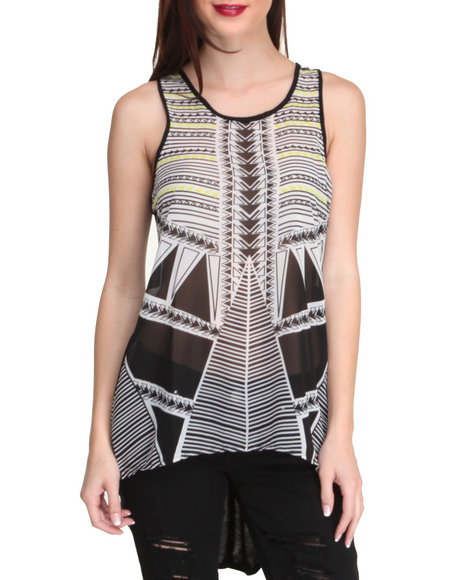 ALI & KRIS White Aztec Chiffon Hi-Low Hem Knit Back Top