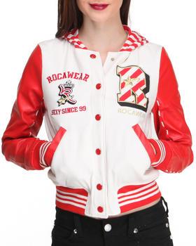 Rocawear - Varsity Fleece w/vegan leather sleeve Varsity Jacket