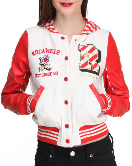 Rocawear Cream Varsity Fleece W/Vegan Leather Sleeve Varsity Jacket