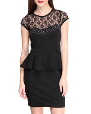 Apple Bottoms - Lace Studded Peplum Dress