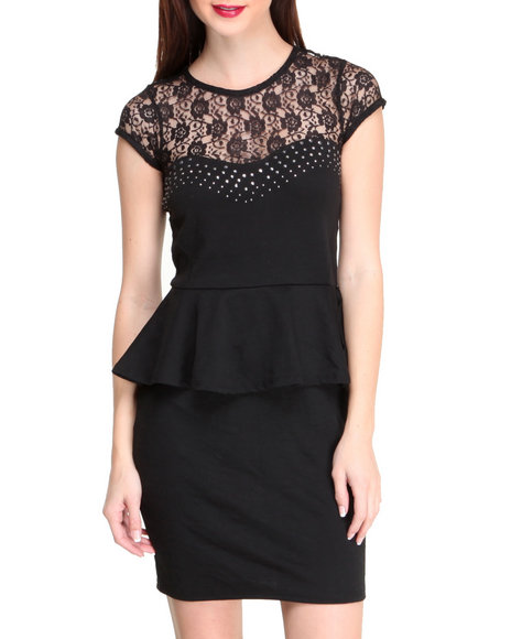 Apple Bottoms - Women Black Lace Studded Peplum Dress - $17.99
