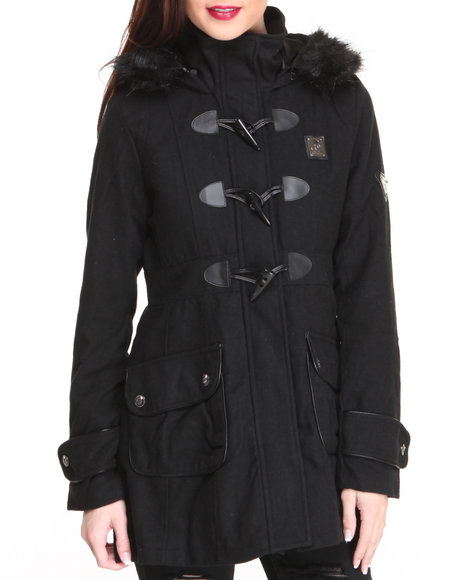 Rocawear Black Lumber Jack Heavy Coat W/Toggles Faux Fur Trim