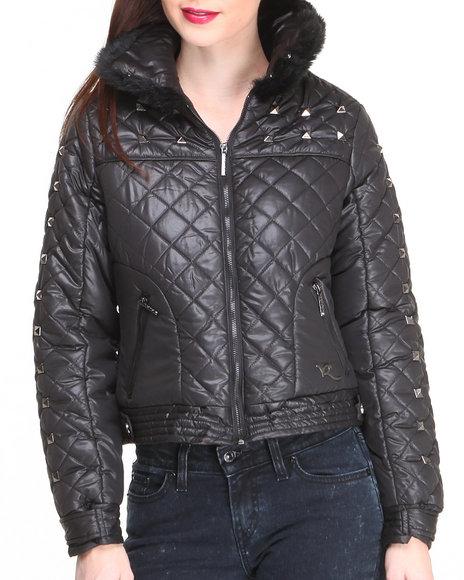 Rocawear - Women Black Ski Bomber Quillted Cire Jacket W/Studs