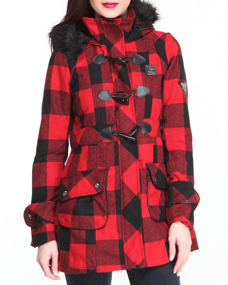 Rocawear Red Lumber Jack Heavy Coat W/Toggles Faux Fur Trim