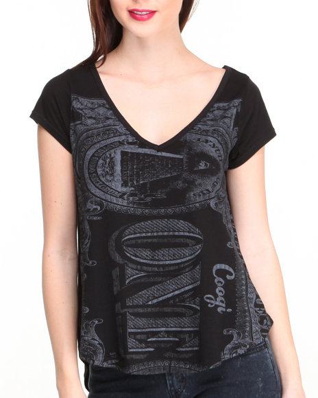 Coogi - Women Black Money Print V-Neck Top