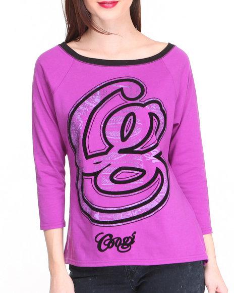 COOGI Purple Hi-Lo 3/4 Sleeve Pullover W/ Logo