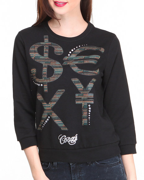 Coogi - Women Black 3/4 Sleeve Pullover W/ Money Sign Wording