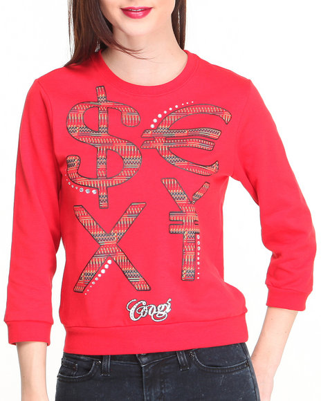 Coogi - Women Red 3/4 Sleeve Pullover W/ Money Sign Wording - $11.99