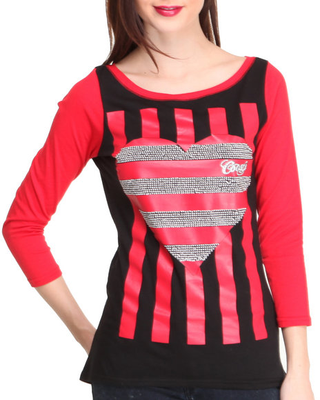 Coogi - Women Black Contrast Sleeve Top W/ Striped Heart