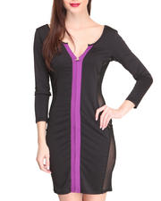 Women - Colorblock Fitted Dress w/ Mesh Sides