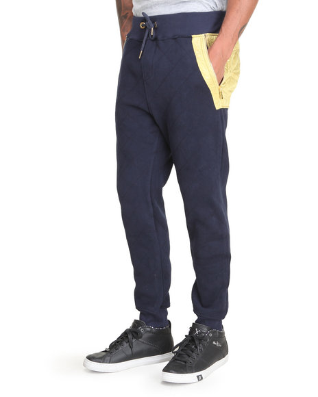 Bass By Ron Bass - Men Gold Nylon Quilted Sweatpants