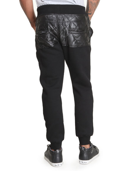 Bass By Ron Bass - Men Black Nylon Quilted Sweatpants