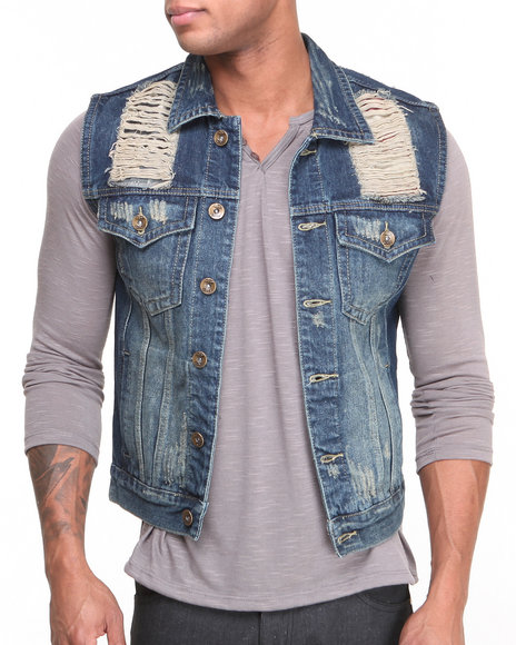 Buyers Picks - Men Dark Blue Us Flag Denim Vest - $27.99