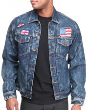 Basic Essentials - Acid Wash Flag Denim Jacket