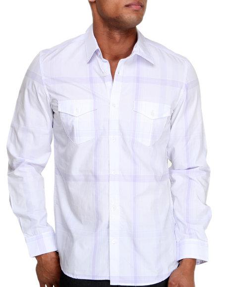 Calvin Klein White Long Sleeve Large Plaid Button-Down