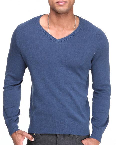 Calvin Klein - Men Blue,Grey Solid Trans V-Neck Sweater
