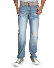 Men - Cross Back Embroidered Denim Jeans w/Belt