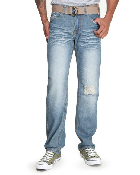 Basic Essentials - Men Light Wash Cross Back Embroidered Denim Jeans W/Belt