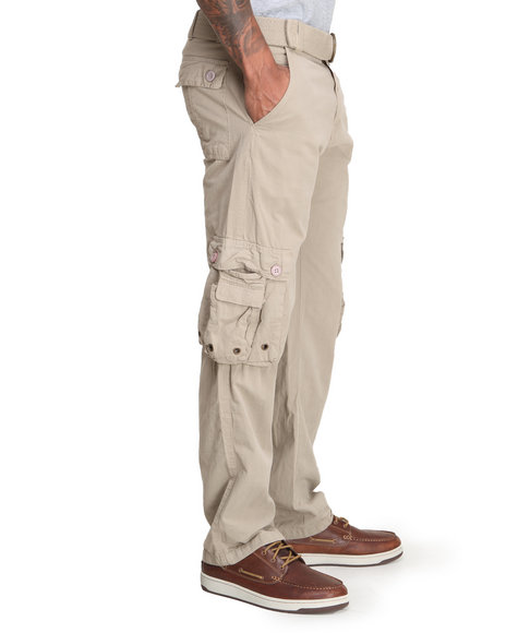 Basic Essentials - Men Khaki Cargo Pants With Belt