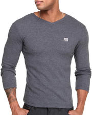 Sweatshirts & Sweaters - Ribbed V - Neck Knit Sweater