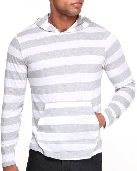 Basic Essentials - Men White Black Web Lightweight Jersey Knit Yarn - Dyed Striped Hoodie