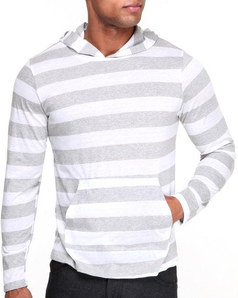 Basic Essentials - Men White Black Web Lightweight Jersey Knit Yarn - Dyed Striped Hoodie