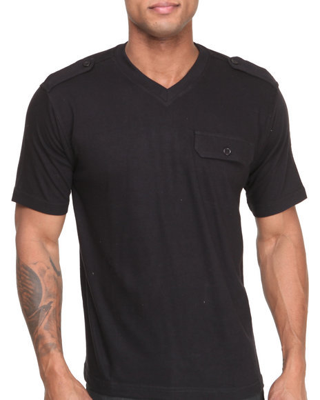 Buyers Picks - Men Black Military V - Neck S/S Tee W/ Epaulettes