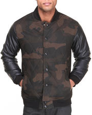 Men - Quilted Camo Vegan Leather Sleeves Jacket