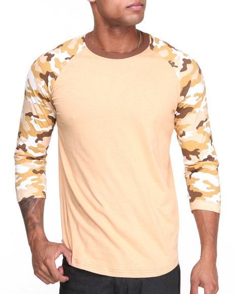 Buyers Picks - Men Tan Camo - Sleeve 3/4 Sleeve Raglan Tee