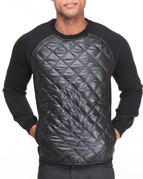 Bass By Ron Bass - Men Black Nylon Quilted Raglan Crewneck Sweatshirt