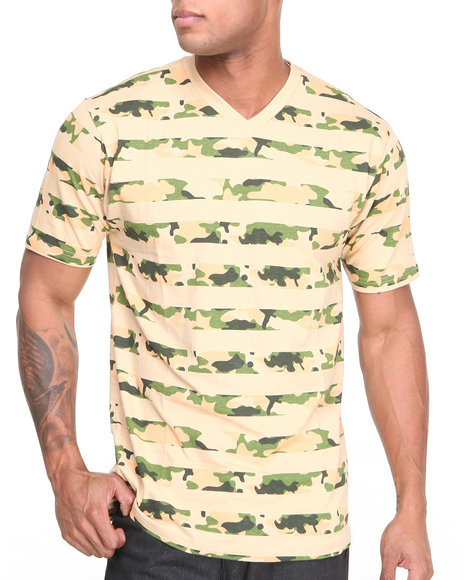 Buyers Picks - Men Khaki Camo - Striped V - Neck Knit S/S Tee - $10.99