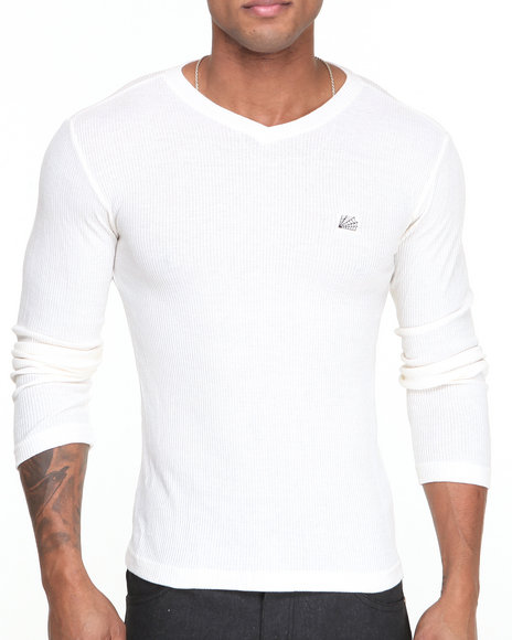 Buyers Picks - Men White Ribbed V - Neck Knit Sweater
