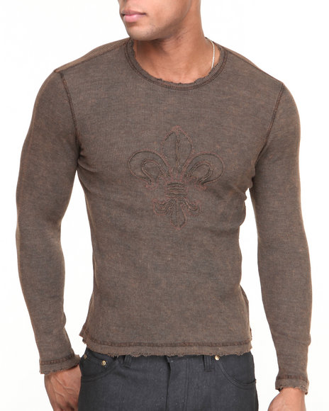 Buyers Picks - Men Brown Fleur De Lis L/S Thermal