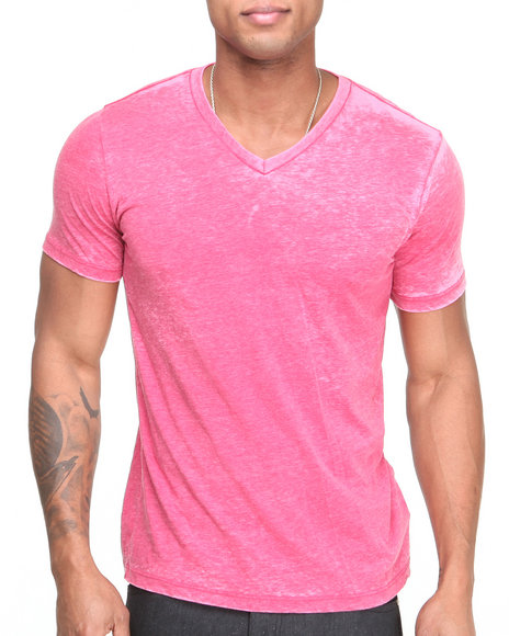 Buyers Picks - Men Pink Burn - Out V - Neck S/S Tee - $4.99